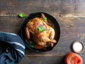 roasted chicken in pan
